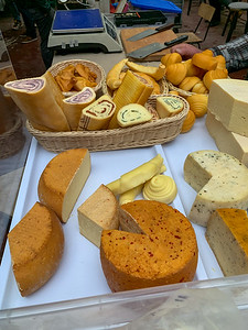 The cheese selection from a farmer's market vendor - Budapest.