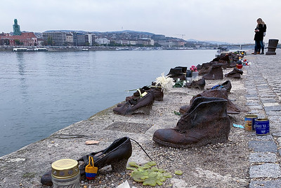 """Shoes along the Danube"", a memorial for the hundreds of Jews and others who were murdered here during WWII."