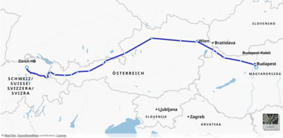 Map of our train journey from Zurich to Budapest.