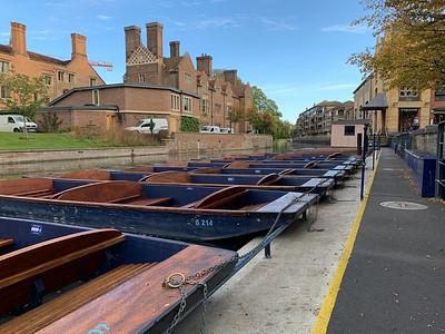 Punts along the river, Cambridge UK.
