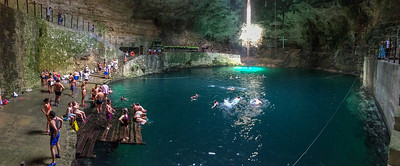 Swimming in Hubiku Cenote (underground lake), Yucatan, Mexico.