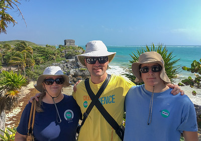 Pam, David, and Andy at Tulum historic site; coast of the Yucatan peninsula, Mexico.