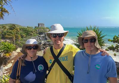 Pam, David, and Andy at Tulum historic site; coast of the Yucatan peninsula, Mexico.