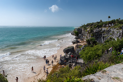 Beach at Tulum historic site; coast of the Yucatan peninsula, Mexico.