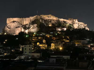 The Acropolis and Parthenon as seen from Electra Hotel, in Athens.