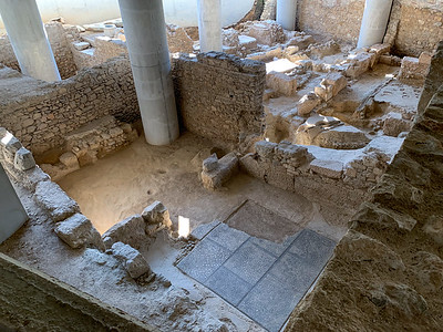 Walls of a house that was used for over 1,000 years, in the ancient neighborhood under Acropolis museum, Athens.