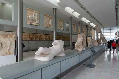 Fragments of the original pediment on the Parthenon, on display in Acropolis museum, Athens.