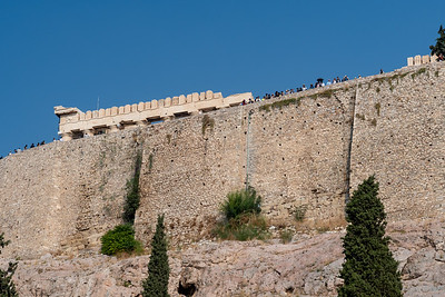 The Parthenon and the Acropolis seen from the southeast slopes; the walls date from the Byzantine era.