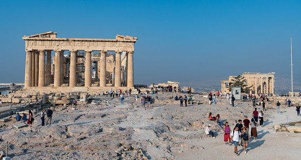 The Parthenon and Erechtheum in morning light - at the Acropolis, Athens.