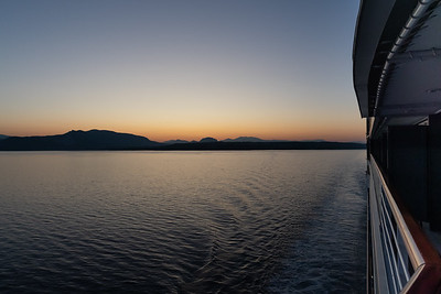 Sunset looking back at the Peloponnese, after transiting the Corinth Canal.
