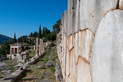 A retaining wall at ancient Delphi, Greece, with over 300,000 inscriptions of gratitude from pilgrims.