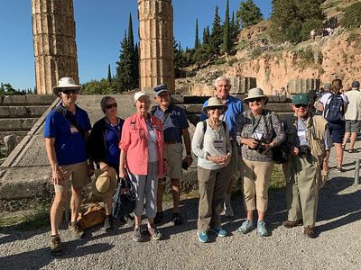Group photo at Temple of Apollo, ancient Delphi, Greece.