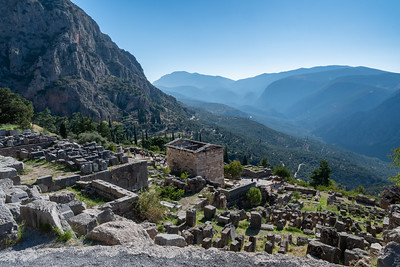 Overview of ancient Delphi, Greece.