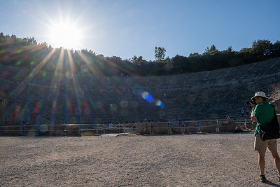 David photographing the ancient Greek theater at Epidaurus.