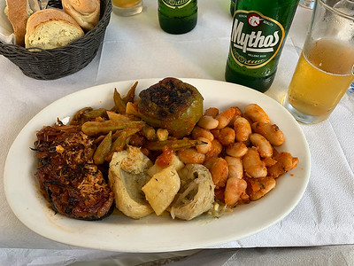 A lovely vegetarian lunch in Hydra, Greece.