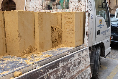 Fresh blocks of limestone of the type used for construction in Valleta, Malta, for centuries.