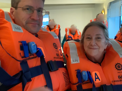 Evacuation drill aboard our cruise ship.
