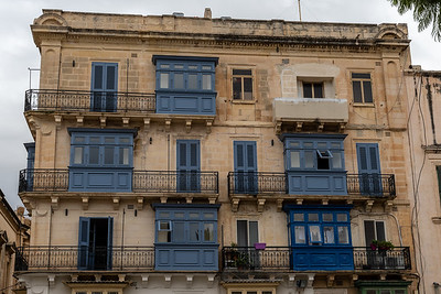Characteristic balcony windows in Valleta, Malta.