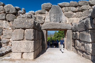 Looking back at Lions' Gate, from inside Mycenae, Greece.