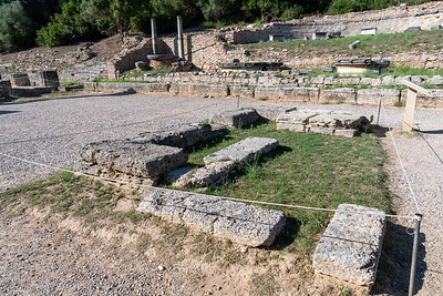 The site, in front of the temple of Hera, where the modern Olympic torch is ceremoniusly lit before each modern Olympic games.