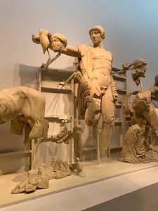 The statues that once decorated the roofline of the west entrance to the temple of Zeus.