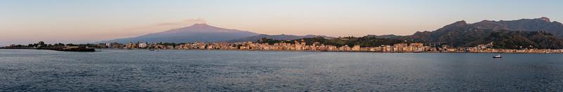 The bay of Naxos, Mount Etna, and Taormina; Sicily.