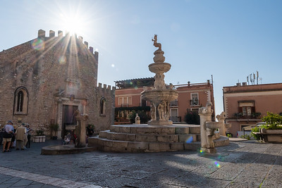 A church square in Taormina, Sicily.