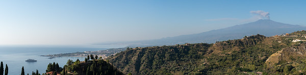 The bay of Naxos (and our ship), and Mount Etna, viewed from Taormina, Sicily.