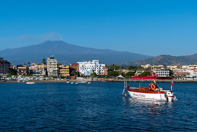 Mount Etna and the bay of Naxos, Sicily.