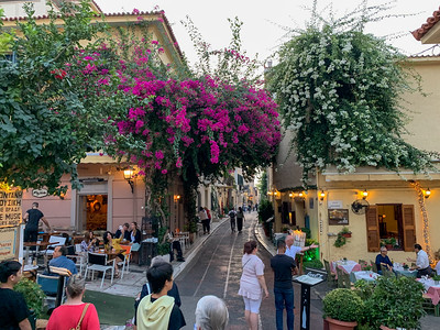 A nice shopping and dining street in Athens.