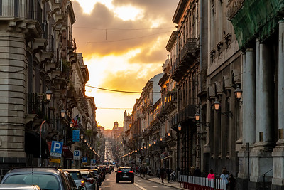 Streets at sunset, Catania, Sicily.