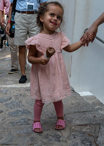 A little girl and her ice cream cone - Hydra, Greece.
