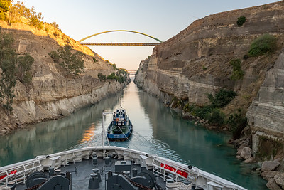 Transiting the Corinth Canal.