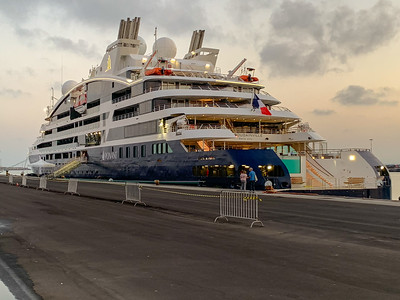 Our cruise ship, Le Bougainville, in Catania harbor, Sicily.