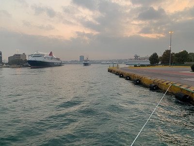 The bustling cruise and ferry terminals at the Port of Athens.