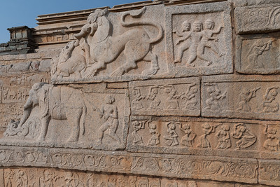 Some of the carvings on the Mahanavami Dabbi, the festival platform at Royal Enclosure, Hampi.