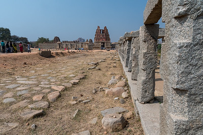 Marketplace stalls at the Vitthala Temple complex. Hampi.