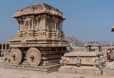 A huge stone chariot, inside Vitthala Temple. Hampi.