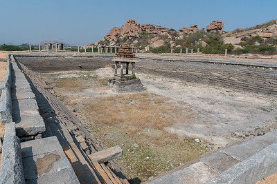 Pushkarani tank (step well) at the Vitthala Temple complex. Hampi.