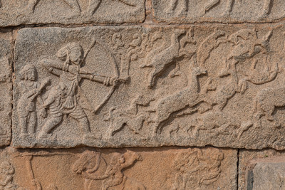 Some of the carvings on the Mahanavami Dabbi, the festival platform at Royal Enclosure, Hampi.