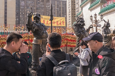 Twelve statues represent the Chinese birth month characters, at Wang Tai Sin temple in Hong Kong.