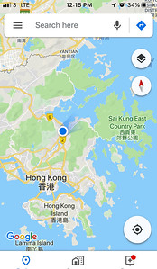The location of CUHK and my hotel in Hong Kong.  The city center is actually on Hong Kong island.