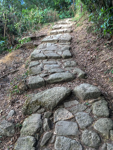 Trail to Lion's Rock includes many stone-paved steps; Hong Kong.