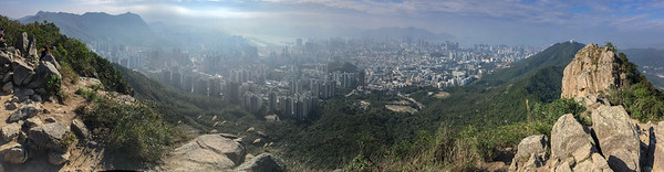 Panoramic view of Hong Kong from the top of Lion's Rock.