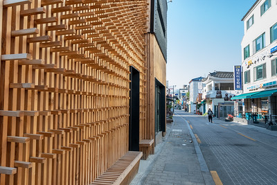 A house with an unusual wooden face, in Seoul.