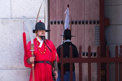 Ceremonial changing-of-the-guard at the Gyeongbokgung palace.