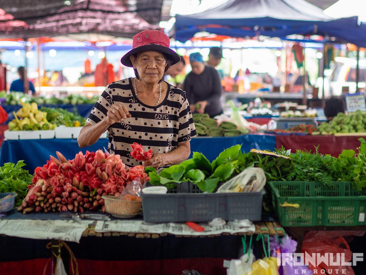 Vegetable seller at Satok Weekend Market