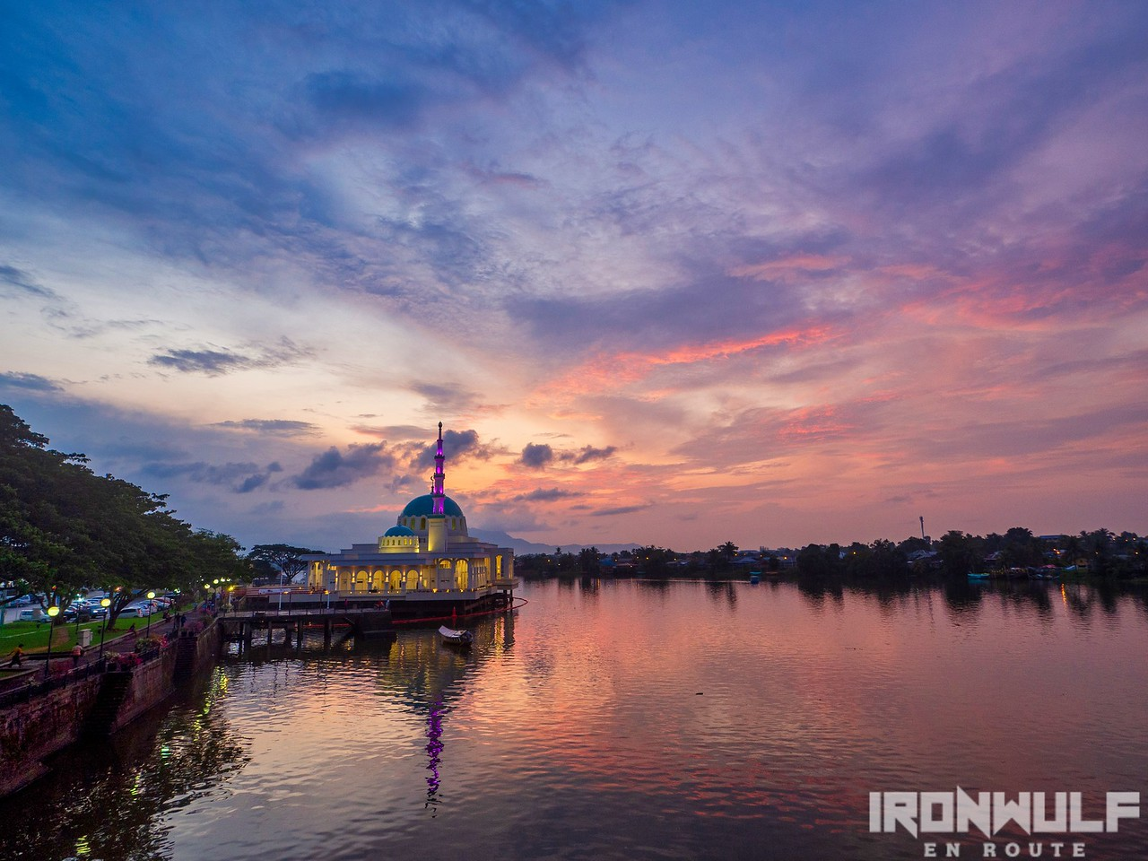 Sunset and the lit Indian Mosque over Sarawak river