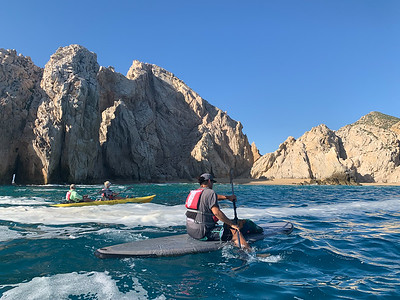 Kayak tour of Los Cabos, Mexico. Note the tiny slot at left, through to the Pacific side of peninsula.