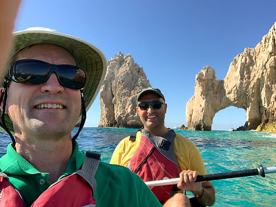 David and Hamed kayaking at el Arco de Los Cabos, Mexico.